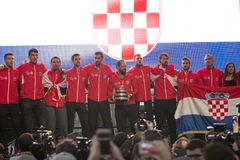 Croatian tennis Team on welcome home celebration royalty free stock photo