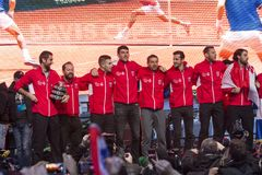 Croatian tennis Team on welcome home celebration stock photo