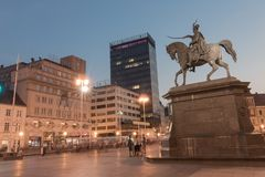 Night view of Ban Jelacic monument on central city square of Zagreb.dng royalty free stock image