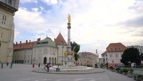 Zagreb, Croatia - September 20, 2016: tourists near Cathedral of Zagreb stock footage