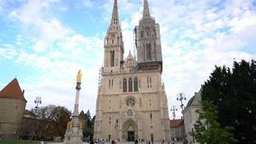Zagreb, Croatia - September 20, 2016: tourists near Cathedral of Zagreb stock video footage