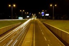 Zagreb, Croatia slow taffic. In the night during summer holidays, white lights,Slavonska avenija Stock Photo