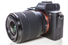 29. 04. 2017, Zagreb, CROATIA: Sony Alpha a7 II Mirrorless Digit. Sony Alpha a7 II Mirrorless Digital Camera Body and lens. With full-frame 24MP full-frame CMOS stock photography