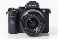 29. 04. 2017, Zagreb, CROATIA: Sony Alpha a7 II Mirrorless Digit. Sony Alpha a7 II Mirrorless Digital Camera Body and lens. With full-frame 24MP full-frame CMOS royalty free stock images