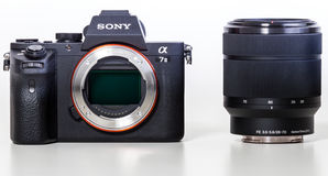29. 04. 2017, Zagreb, CROATIA: Sony Alpha a7 II Mirrorless Digit. Sony Alpha a7 II Mirrorless Digital Camera Body and lens. With full-frame 24MP full-frame CMOS stock images