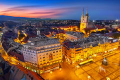 Zagreb Croatia at Sunset. View from above of Ban Jelacic Square Royalty Free Stock Images