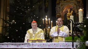 Zagreb, Croatia. 24th december. Catholic priests perform the Midnight Mass at Cathedral of the Assumption of the Blessed Virgin Ma. Ry. Feast commemorating Jesus stock footage