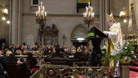 Zagreb, Croatia. 24th december. Catholic priests perform the Midnight Mass at Cathedral of the Assumption of the Blessed Virgin Ma. Ry. Feast commemorating Jesus stock video