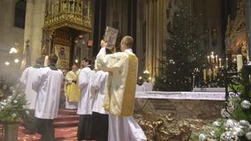 Zagreb, Croatia. 24th december. Catholic priests perform the Midnight Mass at Cathedral of the Assumption of the Blessed Virgin Ma. Ry. Feast commemorating Jesus stock video footage