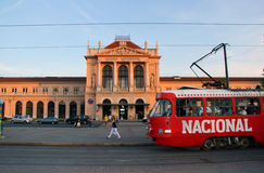 Zagreb Croatia Train Station. Train station in center of Zagreb Croatia with tram passing in front Royalty Free Stock Photos