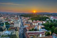 Zagreb Croatia - Vogelperspektivestadtbild lizenzfreies stockfoto