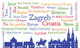 Zagreb, Croatia word cloud and silhouette Stock Image