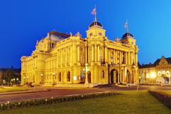 Zagreb - Croatian National Theate. Atžž night royalty free stock photo