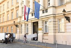 Zagreb, Croatie - 18 août 2017 : Le Parlement croate construisent image stock