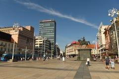 Zagreb, Croatie - août 2017 : Place de Jelacic d'interdiction à Zagreb, hôte image stock