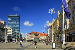 Zagreb, Croatie, bana Jelacica de Trg de place principale Image libre de droits
