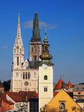 Zagreb domkyrka och Sts Mary kyrka Royaltyfria Bilder