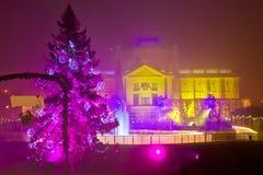 Zagreb en las luces de la Navidad que igualan la visión Imagenes de archivo
