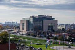 Zagreb, 30 En noviembre de 2017 Biblioteca de universidad nacional imagen de archivo libre de regalías