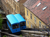 Zagreb funicular. Traditional old blue funicular in Zagreb Croatia Stock Photos