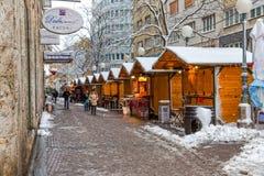 Zagreb Gajeva en la nieve Foto de archivo