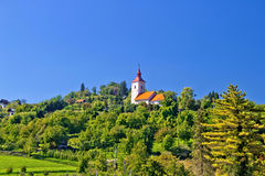 Zagreb green zone hill church Royalty Free Stock Images