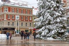 Zagreb-Hauptplatz im Schnee Lizenzfreies Stockfoto