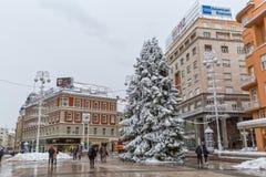 Zagreb-Hauptplatzschnee Stockfotos