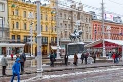 Zagreb-Hauptplatzschnee Lizenzfreies Stockbild