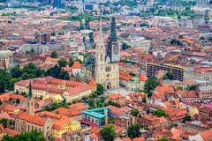 Zagreb, helicopter aerial view Stock Photography