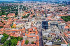 Zagreb, helicopter aerial view stock images