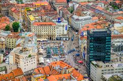 Zagreb, helicopter aerial view Stock Photo