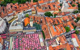 Zagreb, helicopter aerial view Royalty Free Stock Photos