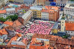 Zagreb, helikopter luchtmening royalty-vrije stock foto