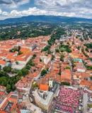 Zagreb, helikopter luchtmening royalty-vrije stock afbeelding