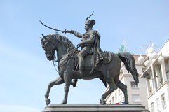 Zagreb: Hero on a horse. Monument of  Baron Jelacic  on a horse, Zagreb, Croatia Royalty Free Stock Images