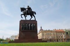 Zagreb: Het monument van Tomislav van de koning Stock Foto's