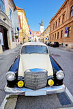 Zagreb historic upper town street. With historic car, capital of Croatia Royalty Free Stock Photography