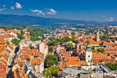 Zagreb huvudstad av den flyg- sikten för Kroatien Arkivfoton