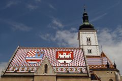 Zagreb - igreja da marca do St. Imagem de Stock