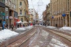 Zagreb Ilica en la nieve Fotografía de archivo libre de regalías