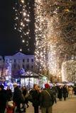 Zagreb iluminada en el tiempo del advenimiento Fotos de archivo libres de regalías