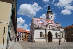 Zagreb, kościół/Zwiedzać/St Mark fotografia stock