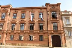Zagreb, Kroatië - Augustus 18, 2017: Kroatisch Grondwettelijk hof stock foto's