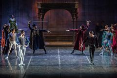 ZAGREB, KROATIË - Februari 15 2018 Charmeur en Juliet Ballet langs stock foto