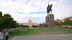 Zagreb, Kroatië - September 20, 2016: Koning Tomislav Square stock videobeelden