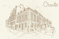 Zagreb, Kroatië Vectorschets in retro stijl stock illustratie