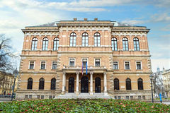 Zagreb, Kroatien, kroatisk akademi av vetenskaper och konster royaltyfria foton