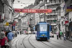 Zagreb Kroatien Svartvitt med kulöra detaljer Arkivfoto