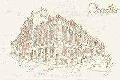Zagreb Kroatien Vektorn skissar i retro stil stock illustrationer